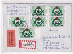 Bund, R-Fernbrief mit Rückschein Me.F. Mi.-Nr. 1330