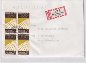 Bund, R-Fernbrief mit Me.F. Mi.-Nr. 587