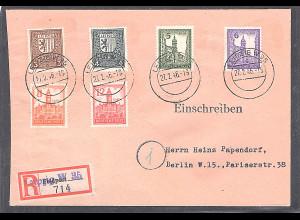 SBZ. West-Sachsen Mi.-Nr. 150-155 y als R-Brief, gelaufen mit AK-St.