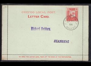 China Chefoo Local Post, Karten-brief gestempelt.