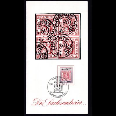 """DDR - Gedenkblatt, """" 150 Jahre Briefmarken """", Letztag der DDR"""