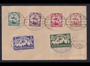 Danzig, Mi.-Nr. 166--171 auf R-Eilbote-Fernkarte mit Luftpost gelaufen.