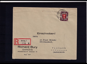 Danzig, R-Auslandbrief mit EF.Mi.-Nr. 269
