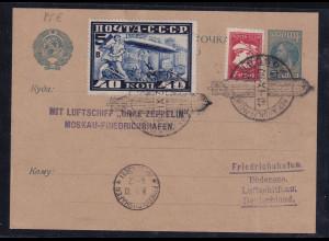 Sowjetunion, Zepp.-Karte mit Mi.-Nr. 390 A u.a.