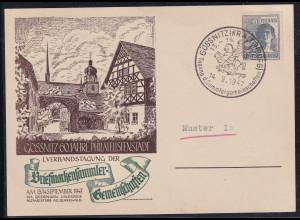 DDR/ SBZ, Sonderpostkarten 60 Jahre Phila. in Gössnitz, Papier sämisch