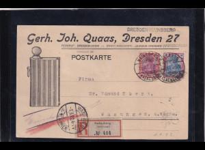 DR. Reklamekarte als R-Fernpostkarte von Dresden gelaufen mit Ak-St.