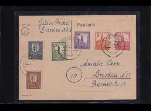 SBZ. West-Sachsen Mi.-Nr. 156 - 161 x auf Karte, sign StröchBPP