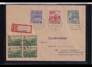 SBZ. Provinz Sachsen, R-Fernbrief mit Mi.-Nr. 87- 89 A und 4 x 90