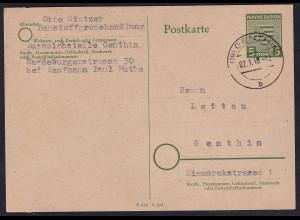 SBZ., Ganzsache Mi.-Nr. P 9 gelaufen, Geprüft StröhBPP.