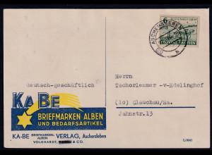 """SBZ. Provinz Sachsen, Reklamekarte Firma """"KABE"""" mit EF. Mi.-Nr. 85"""