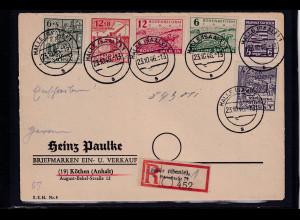 SBZ. Provinz Sachsen R-Fernbrief mit Mi.-Nr. 87 - 89 B u.a., portorichtig.