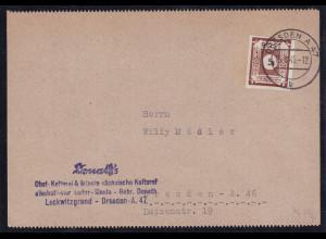 SBZ. Ost-Sachsen, Ortskarte mit EF. Mi.-Nr. 42 A