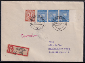 SBZ. Provinz Sachsen, R-fernbrief mit MiF. Mi.-Nr. 81 x ua.