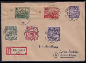SBZ. Provinz Sachsen, R-Fernbrief mit Mi.-Nr. 87- 89 A u.a.