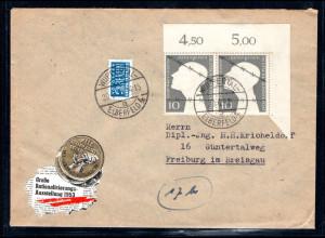 Bund. Fernbrief mit MeF. Mi.-Nr. 165, Rechte obere Ecke.