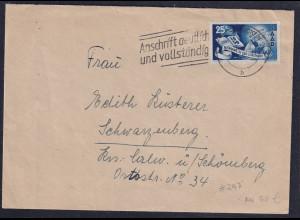 Saarland, Fernbrief mit EF. Mi.-Nr. 297