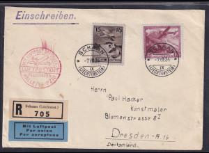Leichtenstein, R-luftpost-Auslandbrief Mi.F Mi.-Nr. 108+113