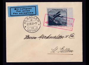 Liechtenstein, Luftpostbrief mit EF mit Mi.-Nr. 111