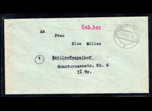 SBZ. Gebühr bezahlt von Jüterbog Altes Lager von 24.10.1945