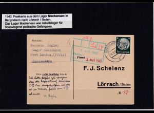 DR., Bestellkarte aus dem Arbeitslager Mackensen