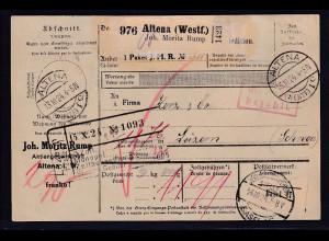 DR., Ausland-Paketkarte mit Gebühr bezahlt aus Altena (Westf.)/Selbstbucher