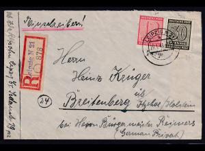 SBZ. West-Sachsen R-Fernbrief mit Mi.-Nr. 135 y und 132 x