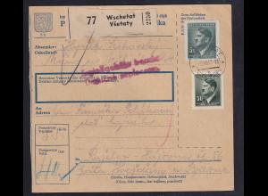 B&M., Paketkarte von Wschetat an Fremdarbeiter lager Holleischen/Huozdany.
