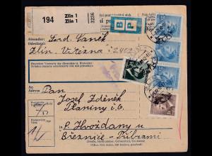 B&M., Paketkarte von Zlinan Fremdarbeiter lager Holleischen/Huozdany.