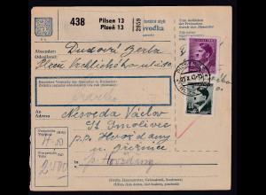 B&M., Paketkarte von Pilsen an Fremdarbeiter lager Holleischen/Huozdany.