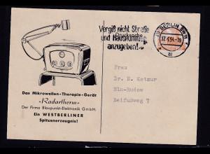 Berlin. Reklame-Karte ,,Radartherm,, der Firma Blaupunkt-Elektronik GmbH, Berlin