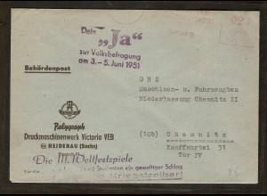 """DDR. Lösungsstempel """"Dein Ja...."""" Und """" Die III. Weltfestspiele...."""""""
