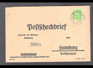 Bizone, AM Post, Postscheckbrief mit EF: Mi.-Nr. 19 D, sign. HettlerBPP