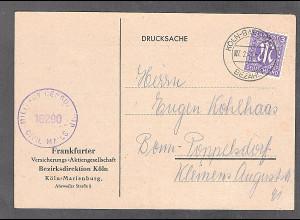 Bizone, AM Post Fernkarte mit EF. Mi.-Nr. 17 bB, sign. HettlerBPP