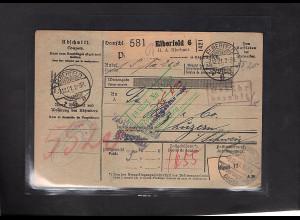 DR., Ausland-Paketkarte mit Gebühr bezahlt aus Elberfeld/Selbstbucher.