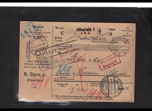 DR., Ausland-Paketkarte mit Gebühr bezahlt aus Elberfeld/Selbstbucher