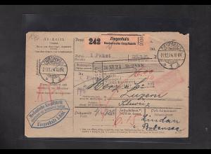 DR., Ausland-Paketkarte mit Gebühr bezahlt aus Ziegenhals/Selbstbucher