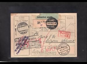 DR., Ausland-Paketkarte mit Gebühr bezahlt aus Frankfurt/Selbstbucher.