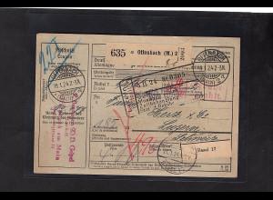DR., Ausland-Paketkarte mit Gebühr bezahlt aus Offenbach