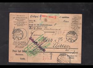 DR., Ausland-Paketkarte mit Gebühr bezahlt aus Barmen 1