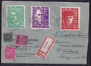 SBZ. Meckl.-Vorpommern, R-Fernbrief mit Mi.F. Mi.-Nr .8 , 11 , 16, 20 - 22