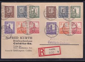 SBZ. West-Sachsen R-Karte mit 2x Mi.-Nr. 150 Y - 155 Y
