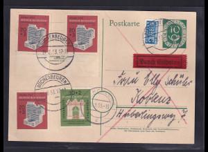Bund., Mi.-Nr. P 12 als Eilbotekarte mit 2 x Mi.-Nr. 171 - 172 gelaufen.