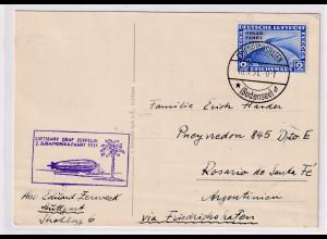 Zeppelin-Karte , EF. Mi.-Nr. 457 nach Argentinien mit Ak-St.