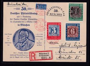 Bund., Ereigniskarte zur 50. Deutscher Phil...tag mit Mi.-Nr 113-115 auf R-Karte