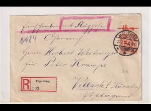 DR., R-Auslandbrief mit Mi.-Nr 342 OR C, Mi. 200€