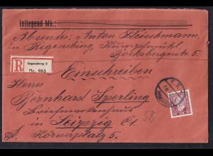 DR., R-Fernbrief mit EF. Mi.-Nr 362 y mit Ak-St.