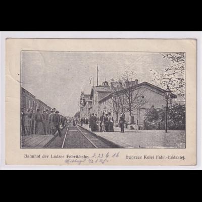 Ansichtskarten, Bahnhof der Lodzer Fabrikbahn, gelaufen