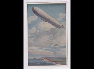 "DR., Zeppelin-Künstler-Karte "" Wacht an deutscher Ostseeküste"" 1915"