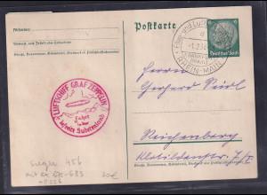 DR., Zeppelin-Karte Sudetenland Fahrt mit Mi.-Nr. ex 675 - 683 + P 226