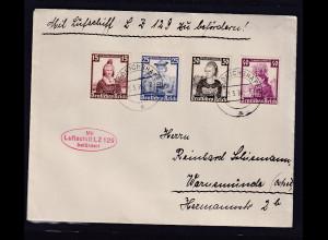 DR., Zeppelin-Brief LZ 129 mit Mi.-Nr. 594-597